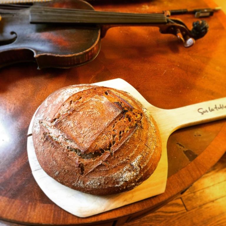 Whole wheat sourdough w/ violin